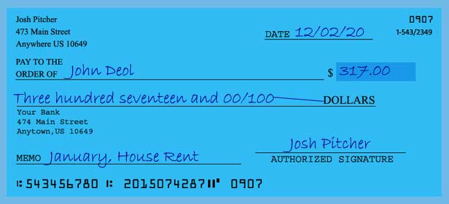 How to write a check for 317 dollars