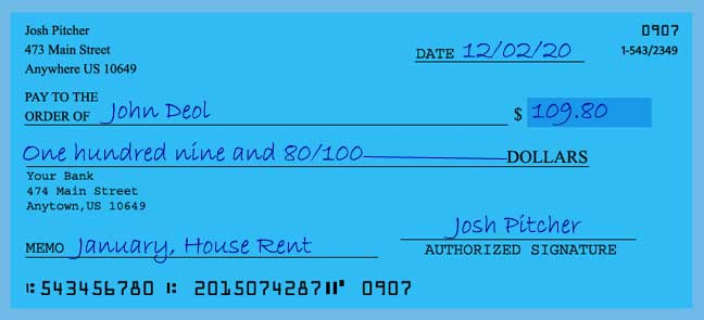 Write a check amount of 109 dollars with cents