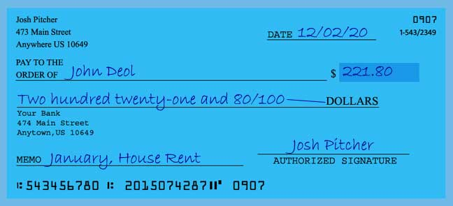 Write a check amount of 221 dollars with cents