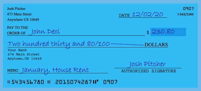 Write a check amount of 230 dollars with cents