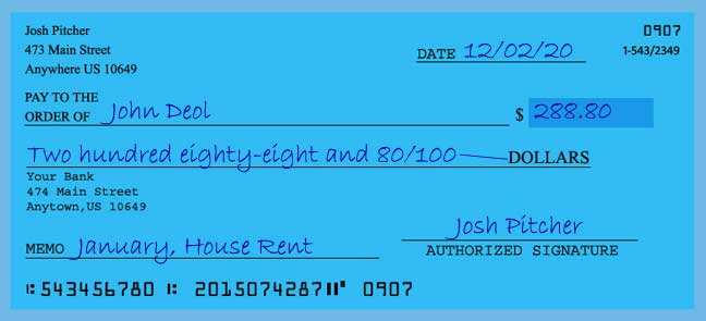 Write a check amount of 288 dollars with cents