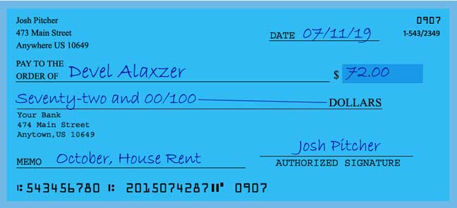 How to write a check for 72 dollars