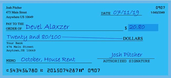 Write a check amount of 20 dollars with cents