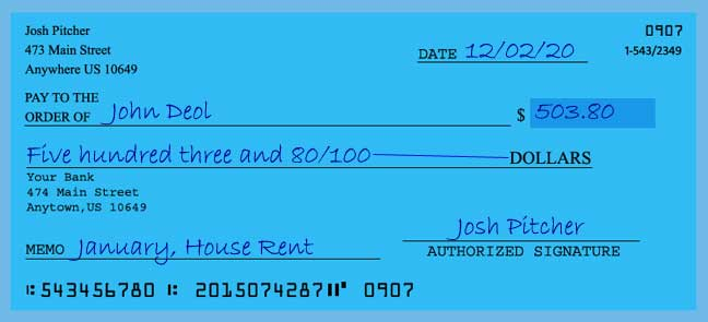 Write a check amount of 503 dollars with cents
