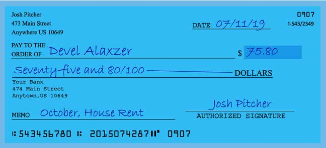 how to write a check for 75 dollars  check matter