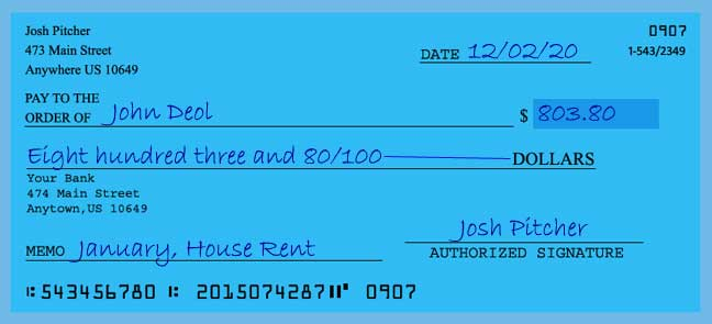 Write a check amount of 803 dollars with cents