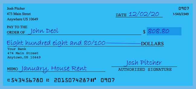 Write a check amount of 808 dollars with cents