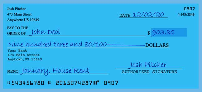 Write a check amount of 903 dollars with cents