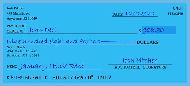 Write a check amount of 908 dollars with cents